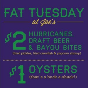 Joe's Fat Tuesday promo