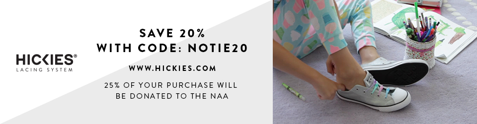 Save 20% on HICKIES No-Tie Shoelaces and Support NAA's Programs